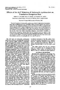 Effects of the hisT Mutation of Salmonella typhimurium on Translation ...