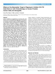 Effects of the Mammalian Target of Rapamycin ... - Cancer Research