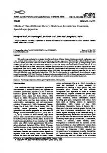Effects of Three Different Dietary Binders on Juvenile Sea Cucumber ...