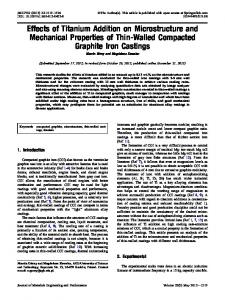 Effects of Titanium Addition on Microstructure and ... - Springer Link