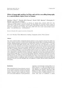 Effects of topographic position, leaf litter and seed ... - Semantic Scholar