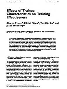 Effects of Trainee Characteristics on Training ... - Wiley Online Library