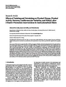Effects of Training and Detraining on Physical Fitness, Physical Activity ...