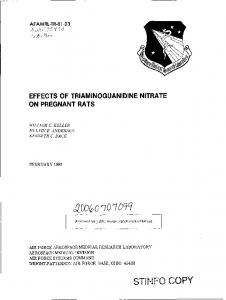 Effects of Triaminoguanidine Nitrate on Pregnant Rats