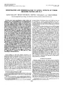 effects of tumor necrosis factor and IL-1. Sensitization and ...