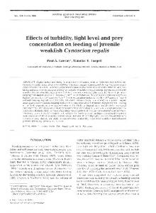 Effects of turbidity, light level and prey concentration ... - Inter Research