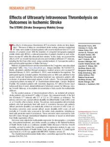 Effects of Ultraearly Intravenous Thrombolysis on Outcomes in ...
