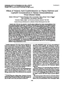 Effects of Valproic Acid Coadministration on Plasma Efavirenz and ...