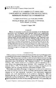 effects of varied culturing and experimental temperature on electrical ...