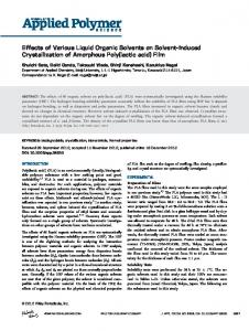 Effects of Various Liquid Organic Solvents on Solvent ...