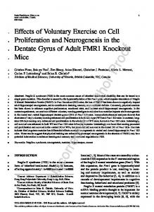 Effects of Voluntary Exercise on Cell Proliferation and Neurogenesis in