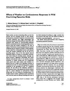 Effects of Weather on Corticosterone Responses in ... - Tufts University
