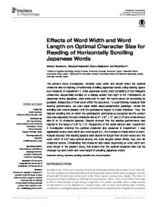 Effects of Word Width and Word Length on Optimal ... - Frontiers