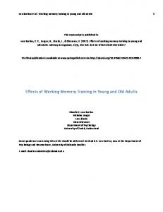 Effects of Working Memory Training in Young and ... - Semantic Scholar