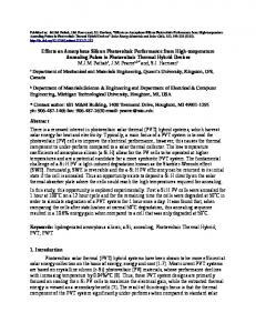 Effects on Amorphous Silicon Photovoltaic Performance from ... - arXiv
