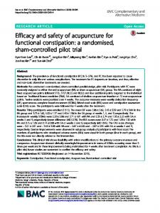 Efficacy and safety of acupuncture for functional constipation - BMC ...