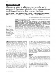 Efficacy and safety of adalimumab as monotherapy in patients with ...