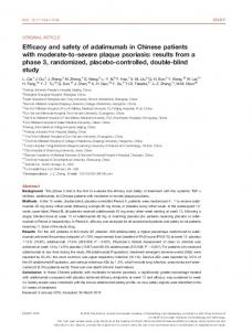 Efficacy and safety of adalimumab in Chinese patients with moderate ...