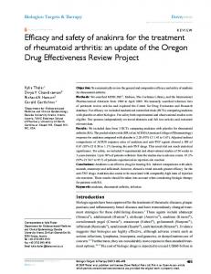 Efficacy and safety of anakinra for the treatment of ... - CiteSeerX