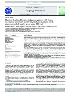 Efficacy and safety of bilastine in Japanese patients with ... - Core