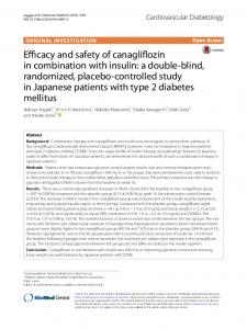 Efficacy and safety of canagliflozin in combination with insulin: a ...
