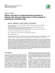 Efficacy and Safety of Compound Kushen Injection on Patients with ...