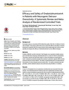 Efficacy and Safety of OnabotulinumtoxinA in Patients with ... - PLOS