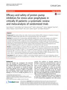 Efficacy and safety of proton pump inhibitors for stress ulcer ...