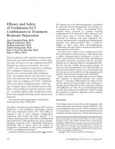 Efficacy and Safety of Venlafaxine-ECT Combination in Treatment ...