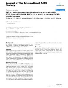 Efficacy and tolerance of combination of maraviroc with MK-0518 ...