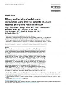 Efficacy and toxicity of rectal cancer reirradiation using IMRT for ...