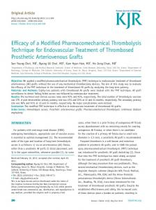 Efficacy of a Modified Pharmacomechanical Thrombolysis Technique ...