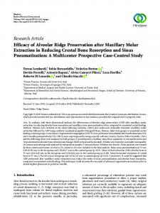 Efficacy of Alveolar Ridge Preservation after Maxillary Molar Extraction