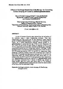 Efficacy of Antifungal Metabolites of Bacillus spp. for ... - ThaiScience