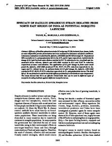 efficacy of bacillus sphaericus strain isolated from
