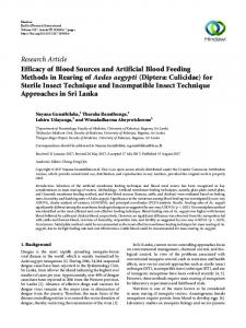 Efficacy of Blood Sources and Artificial Blood Feeding Methods in ...