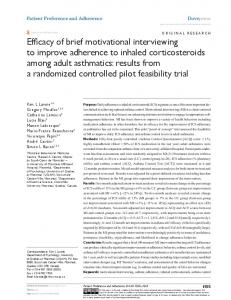 Efficacy of brief motivational interviewing to improve adherence to