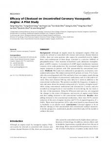 Efficacy of Cilostazol on Uncontrolled Coronary ... - Wiley Online Library