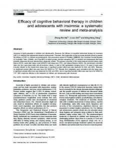 Efficacy of cognitive behavioral therapy in children