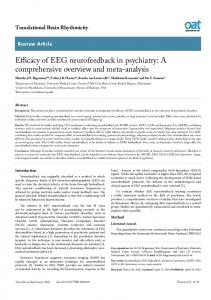 Efficacy of EEG neurofeedback in psychiatry: A ... - Semantic Scholar