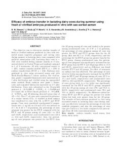 Efficacy of embryo transfer in lactating dairy cows ... - Semantic Scholar
