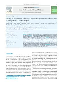 Efficacy of intravenous zoledronic acid in the prevention and ... - Core