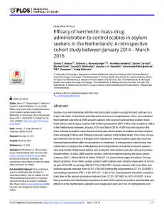 Efficacy of ivermectin mass-drug administration to control ... - PLOS