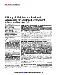 Efficacy of Maintenance Treatment Approaches for ... - CiteSeerX
