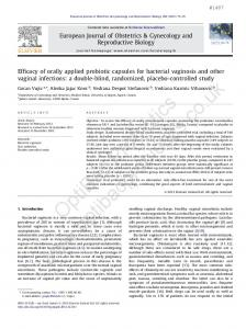 Efficacy of orally applied probiotic capsules for ... - OptiBac Probiotics
