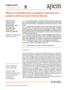 Efficacy of pamidronate in pediatric osteosarcoma ... - ScienceCentral
