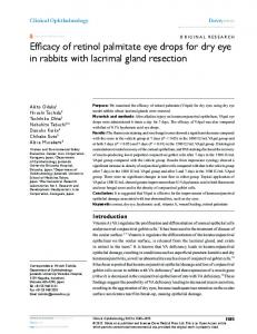 Efficacy of retinol palmitate eye drops for dry eye in ... - Semantic Scholar
