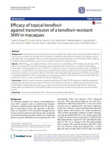 Efficacy of topical tenofovir against transmission of a tenofovir-resistant ...