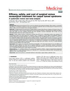 Efficacy, safety, and cost of surgical versus nonsurgical treatment for ...