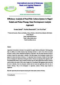 Efficiency Analysis of Pond Fish Culture System in ...